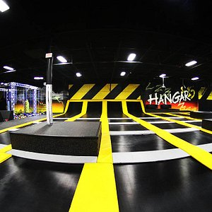 Our open jump features angled trampolines and hanging obstacles.