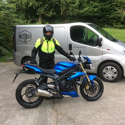 Fantastic fun Triumph Street Triple motorcycle available for hire plus helmet and protective clo