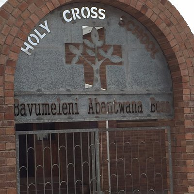 Front gate of the Holy Cross Elementary School, which is run by the monastery.