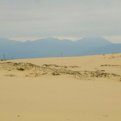 dunes with mountains in background