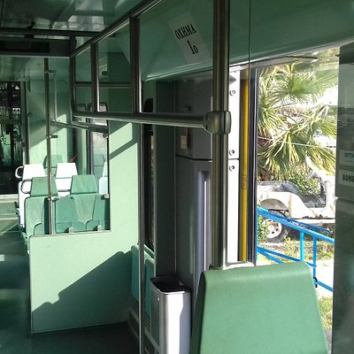 The inside of the train: Clean, comfortable and air-conditioned
