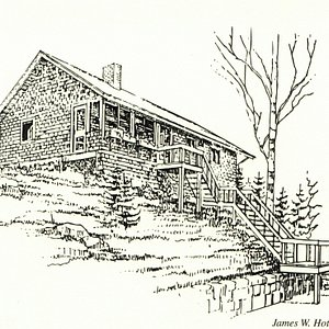 Drawing of the Bartok Cabin by James Hotaling
