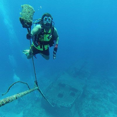 Keith hangs out on his safety stop after diving a wreck