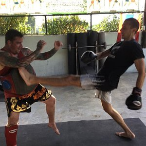 One of our fighters working his front kick
