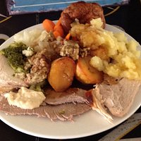 Sunday Carvery meal, Roast Pork, Beef and Chicken,