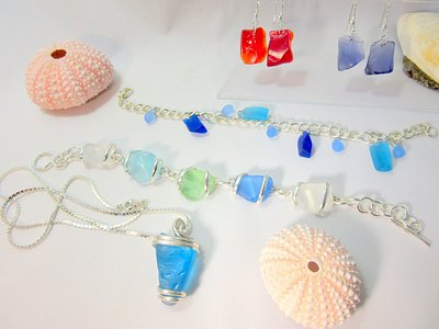 Beach glass jewelry from locally sourced beach glass