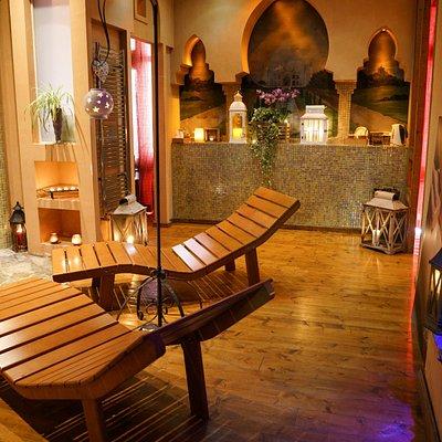 area relax, con bagno turco, sauna, doccia di ghiaccio e aromoterapica