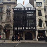 Tudor gate at the bottom of Chancery lane at Fleet Street leading to Inner Temple Lane