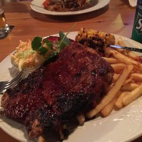 Ribs, coleslaw, chips, and corn on the cob 5 out of 5