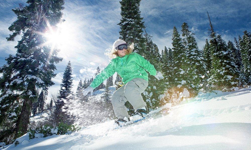 Snowboarding at Bridger Bowl