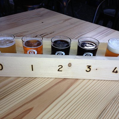 flight of 5 craft beers at Basic City Beer