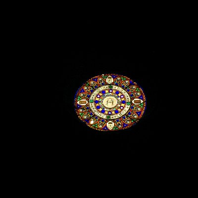 Vitral de la ventana de la iglesia parroquial de Camprodon