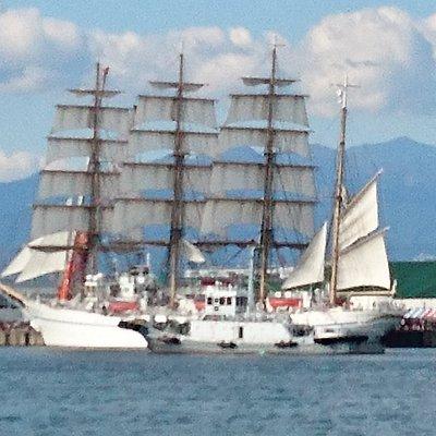 帆をはった、日本丸の完成写真です