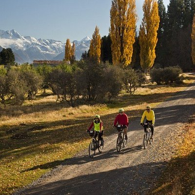 Cyclists enjoying the autumn leaves and snow capped peaks