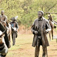 Selection of life sized bronze statues on the Long March to Freedom.