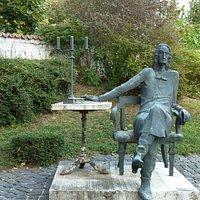 Imre Varga sculpture in little garden
