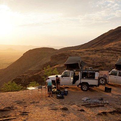 Campen, ohne Luxus über dem Marienfluss