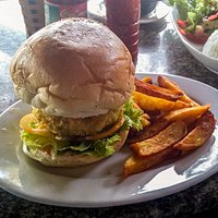 Delicious Veggie Burger and homemade fries