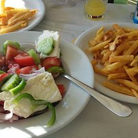 Greek Salad and French Fries