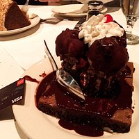 Peanut butter ice cream/hot fudge/brownie sundae (with credit card for scale).
