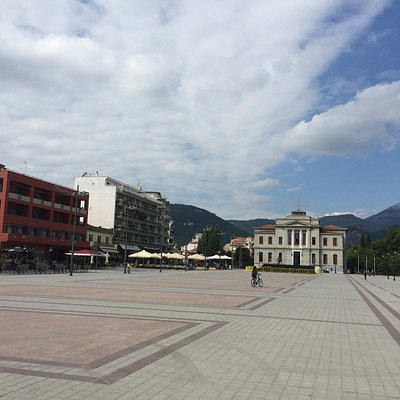 The square and mountains beyond