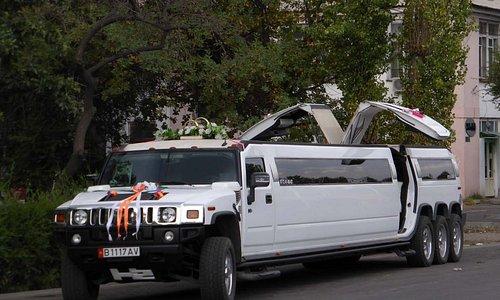 Stretch-limousinen warten im Dutzendpack vor dem Park (1)