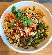 Rice bowl and tofu tacos