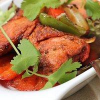 Tandoori chicken, very succulent.