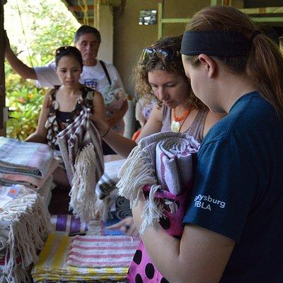 Visitors Buying Beautiful Weavings
