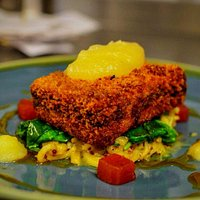 Crispy breaded belly of pork with black pudding