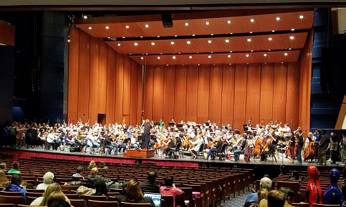 Enjoying holiday youth symphony orchestra rehearsal at the newly renovated Robinson Center.  The