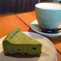 Macha cheesecake and latte at Coffee Kobo Kanon
