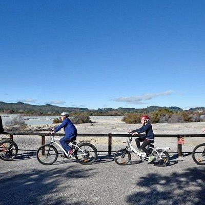 Riding on Sulphur Point Trail in Rotorua.