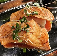 Seared Salmon on Rice Cake