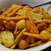 Mix Mokarta (patate, noisette, patate dolci, patate alla cipolla e wurstel)