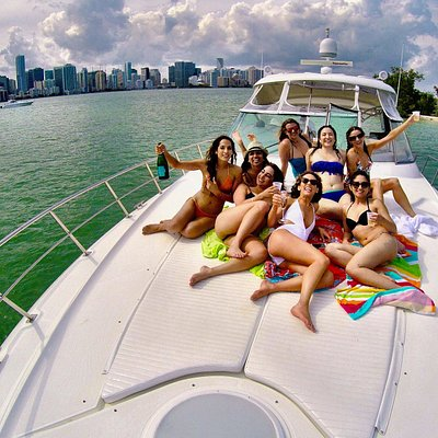 Fun in the sun on the bow of our 55 ft yacht
