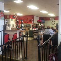 The diner has a retro feel.  Very inviting atmosphere.  You can pick a seat near the window.  Di
