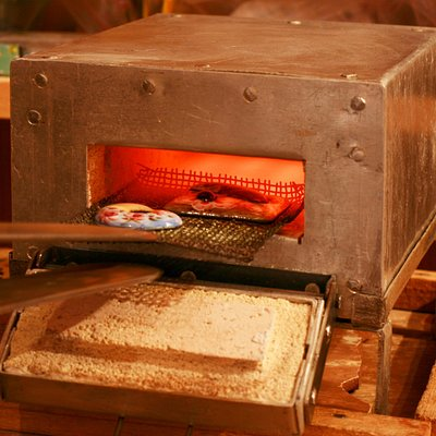 Обжиг работ в муфельной печки, при температуре 750 градусов