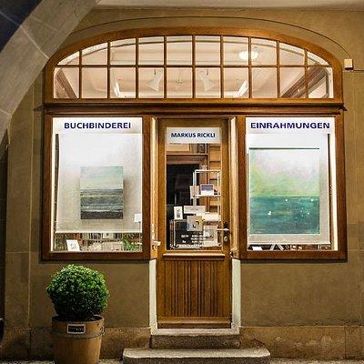 Alte Kirchbühlapotheke. Heute ein Atelier für Buchbinderei und Einrahmungen.