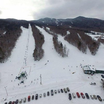 Lodge, Lift, Parking and a few trails as seen from the sky.