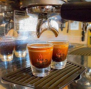 Double espresso shots at Calusa Coffee Roasters
