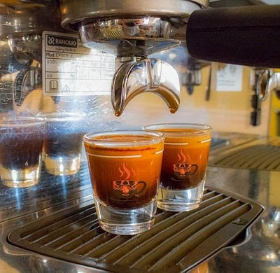 Double espresso shots at Calusa Coffee Roasters