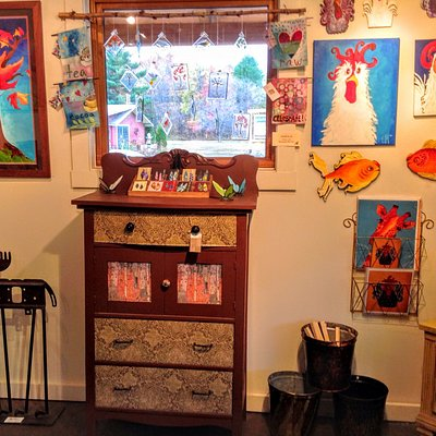 Fun and funky art and upcycled furniture.