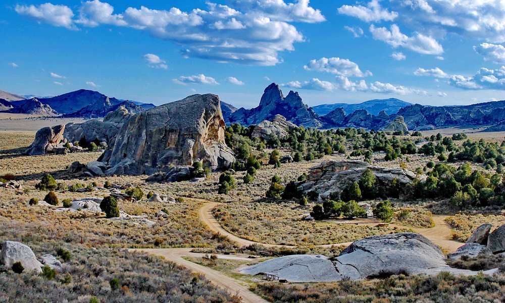 View of campground, Elephant Rock and Twin Sisters