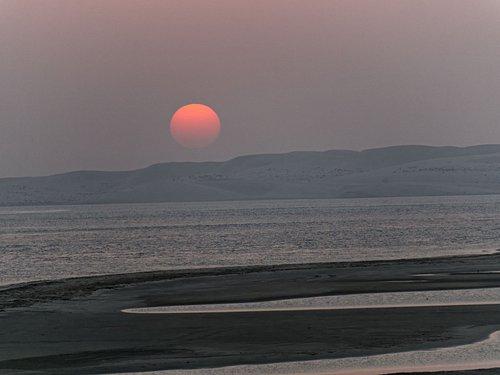 take in sunset at inland sea