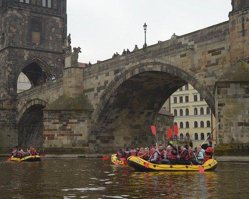 Prague Fun Rafting - our rafts under Charles bridge