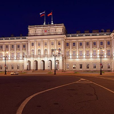 Night view of Mariinskiy Palace, St Petersburg, Russia