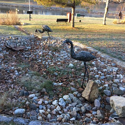 Confederation Park - flamingo sculpture in park