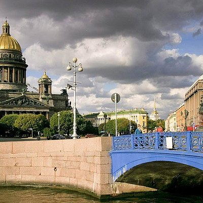 View of Blue Bridge with the St.Isaac Cathedral and Monument to Nicholas I , St Petersburg, Russ