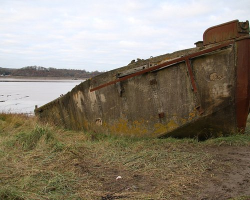 A concre barge well beached